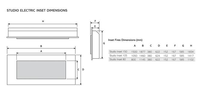 Inserts électriques Studio Inset Dimensions