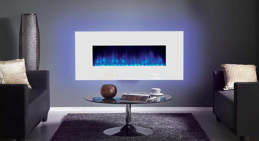 Le Radiance 100W Glass électrique de Gazco en verre blanc.