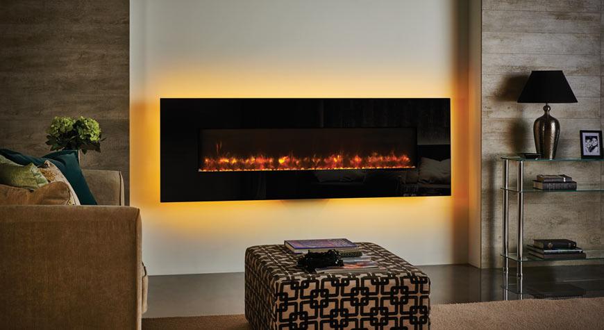 Le Radiance 150W Glass électrique de Gazco en verre noir.