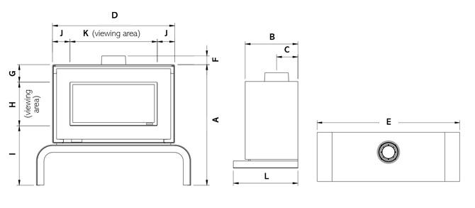 Poêle à gaz Studio 1 Freestanding Dimensions
