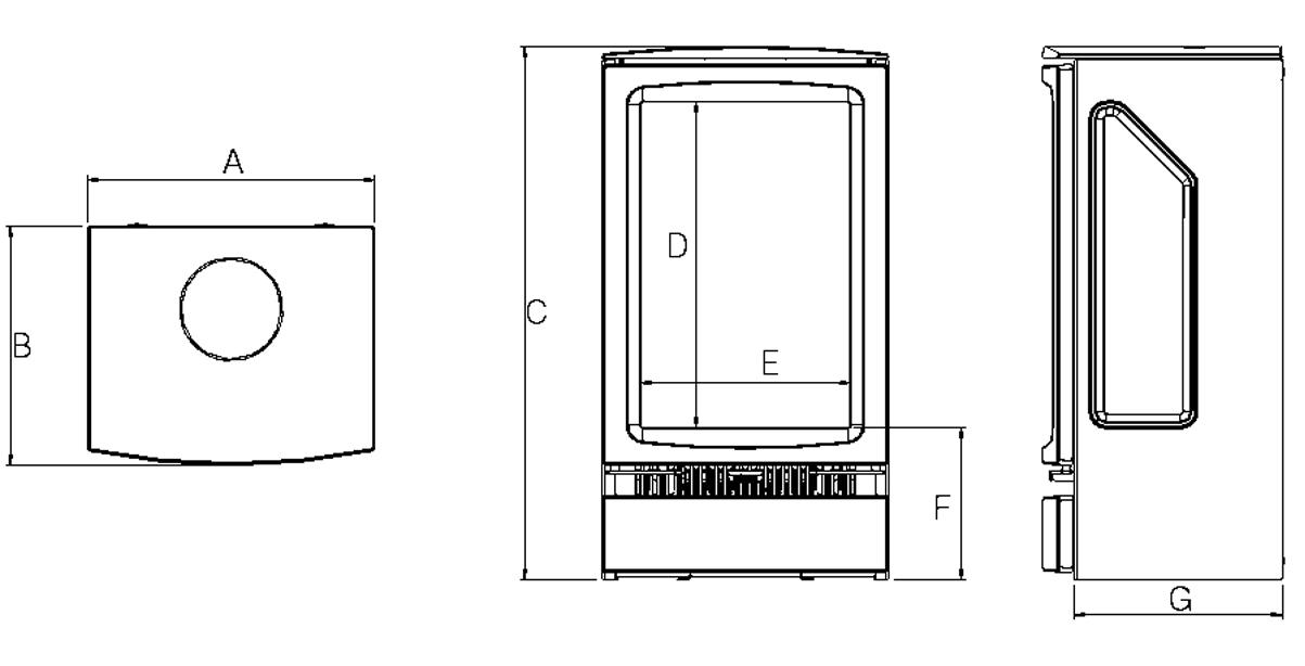 Poêle électrique Vogue Midi T Dimensions