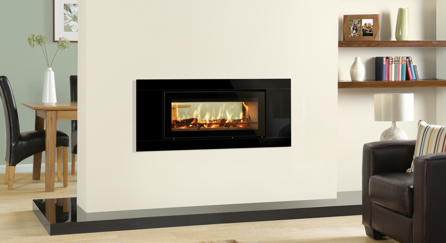 L'insert à bois Studio 2 Duplex de Stovax avec cadre Glass.