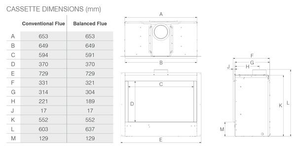 Insert à gaz Riva2 600 Icon XS Dimensions