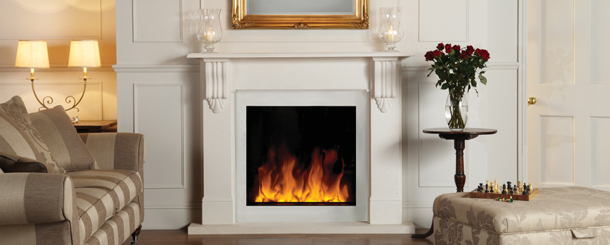 Riva2 Electric 70 with Victorian Corbel Mantel