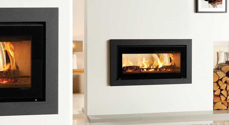 L'insert à bois Studio 2 Duplex de Stovax avec cadre Profil (large).